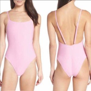 Something Navy Ribbed Pink  Swimsuit Sz XL NWT